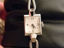 14K White Gold Lady Hamilton 17 jewel Wrist Watch & 14K WG Woven Band*