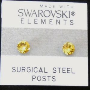 Yellow Round Circle Stud Earrings 5mm Golden Crystal Made with Swarovski Element