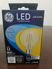 Ge Led 5w replaces 60w decorative globe clear finish G25 Dimmable 24601