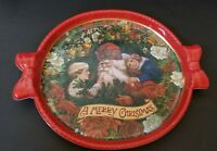 "VINTAGE VICTORIAN 15"" CHRISTMAS TRAY SANTA CLAUS WITH CHILDREN PLASTIC TRAY"