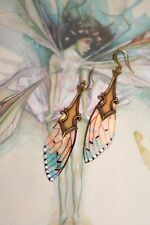 Fairy cicada wing crystal magical enchanted fae pixie aurora artisan earrings