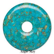 Mosaic Blue Turquoise Donut Pendant Focal Bead 45mm