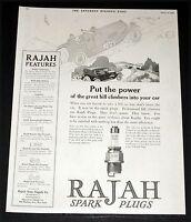 1918 OLD MAGAZINE PRINT AD, RAJAH SPARK PLUGS, POWER OF HILL CLIMBERS, CAR ART!