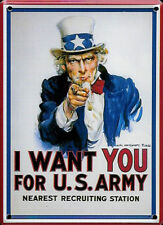 I Want You (Uncle Sam) metal postcard / mini-sign (hi) REDUCED TO CLEAR!!