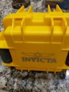 INVICTA YELLOW PLASTIC MOLDED LATCHED WATCH BOX AUTHENTIC FOAM PADDING NEW