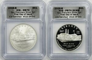 Lot 2 2006-S San Francisco Silver Set $1 ICG MS70 PR70 Commemorative 2 Coin FDOI
