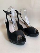 "Spot On Black Sling Back Peep Toe Leather Shoe Sandal 4"" Wedge Heel UK 7"