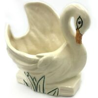 VTG Swan Planter McCoy Art Pottery White Glaze Hand Painted Accents Crazing