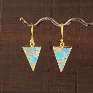 Natural Copper Turquoise Yellow Gold Electroplated Drop Dangle Earrings Jewelry