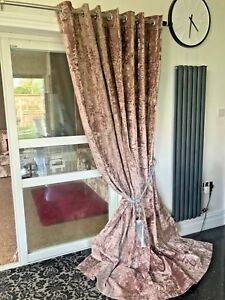 Crushed Velvet Curtains Eyelet Ring Top thick Ready long BLACKOUT Champagne Gold