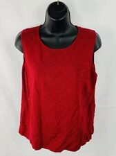 Charter Club Womens Petite Top Shirt Sleeveless Red Silk Blend Size PL