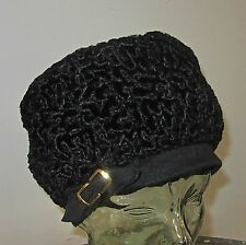 Vintage Black Persian Curly Lambs Wool Hat cap red satin lining so fine