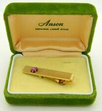 Anson Pink Genuine Linde Star Gold Tone Tie Clip Vintage
