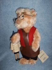 "Steiff- 14"" Geppetto Mohair Bear with wooden Puppet Pinocchio #651311, Germany"