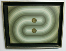 Tomas Abal kinetic art oil canvas Patacon Argentine coin 1976 CARA y SECA