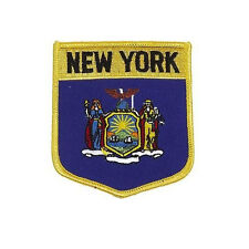 NEW YORK  USA STATE SHIELD FLAG EMBROIDERED IRON-ON PATCH CREST BADGE.. NEW