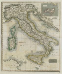 Italy by John Thomson. Island of Elba. Sicily Sardinia Corsica 1817 old map