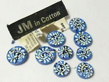 VINTAGE - Genuine Jean Muir Wooden Blue/Cream/Black Painted Round BUTTONS x9