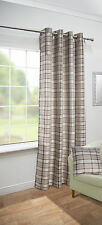 Isla Woven Twill Tartan Check Stripe Eyelet Curtain Panel - Blue, Red, Natural