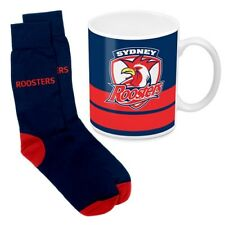 125058 SYDNEY ROOSTERS NRL 330ML COFFEE MUG AND KNIT ADULT FIT SOCKS GIFT PACK