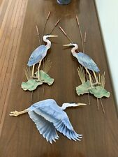 Handcrafted Bovano Of Cheshire Heron FL Birds Glass Enamel On Copper Wall Hang