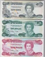 THREE BAHAMAS BANKNOTES 1974 TO 1984 IN NEAR MINT CONDITION.