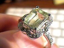 RING 6 green AMETHYST STERLING SILVER 925 natural sapphire white gold EMERALD CU