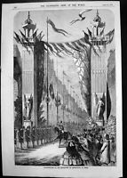 Old Print 1858 Inauguration Boulevard Sebastopol Paris France Celebration 19th