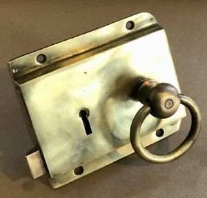 ANTIQUE VICTORIAN SOLID BRASS RIM LOCK WITH HANDLES 1800's