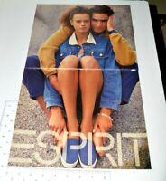 1990 Espirit 2 Page 90s Fashion Model Jean Jacket Couple Vintage Print Ad