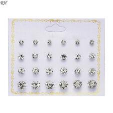 Lot de 12 boucles d'oreilles bijoux fantaisie diamants mixte argentés !