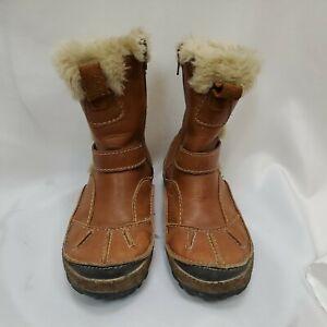 Merrell Taiga Buckle Waterproof Leather Zip Winter Boots Faux Fur Women Size 6.5