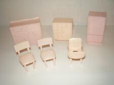 Marx Vintage Plastic Doll House Pink Furniture
