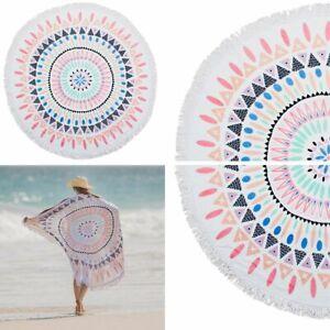 Printed Round Beach Towel | 150cm Fringed | Tulum Sorbet | Bambury Fashion print