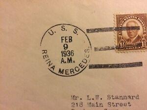 SELDOM SEEN USS REINA MERCEDES 1936 NAVAL POSTAL HISTORY COVER