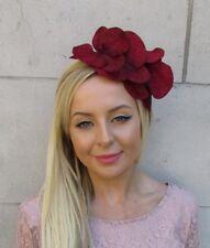 Burgundy Wine Red Orchid Flower Fascinator Headpiece Headband Wedding Vtg 5904