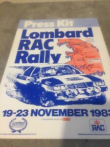 1983 LOMBARD RAC RALLY PRESS KIT AUDI QUATTRO EX JIM PORTER
