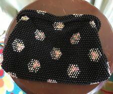 Charming Vintage Black Plastic Bead Fabric Evening Clutch Purse