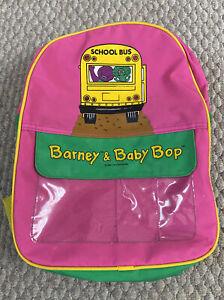 Vintage 90's Barney & Baby Bop Small School Bus Backpack Book Bag Nostalgia