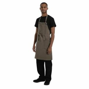 Chef Works Urban Dorset Bib Apron in Brown - 100% Cotton - 760(W)x865(L)mm