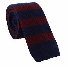 Block Stripe Skinny Acrylic & Cotton Knitted Tie