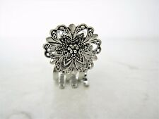 Tiny mini silver flower metal hair claw clip