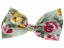 Sage Green Floral Bow  Barrette Hair Clip Slide Hair Accessories UK