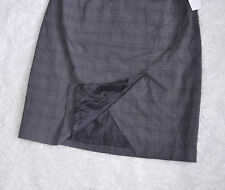 Laundry by Shelli Segal A Line Skirt Sz 10 Grey Gray Front Slit Plaid Woven