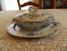 Blue and White Bridgewood Anemone China Covered Tureen & Platter 7-1