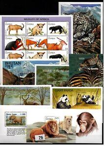 // 10 S/S- MNH - MIX - NATURE - WILD ANIMALS - LIONS - PANDAS - ELEPHANTS