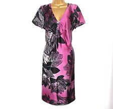 M&s autographe robe soie 14 Noir Prune Rose formelle Mariage Fête Doublure 45k