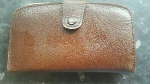Vintage Brown Real Leather purse, clasp on coin side / press stud on notes side.