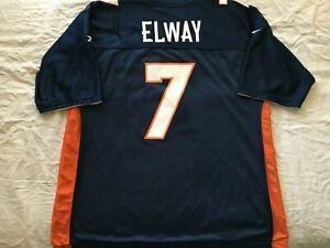 John Elway Denver Broncos authentic Reebok reversible blue white replica jersey