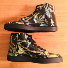 Gucci Black Leather Tropical Print High Top Trainers - Size 7.5 - 41 1/2